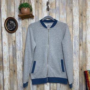 ASOS Men's Grey Crewneck Zip-Up Sweater